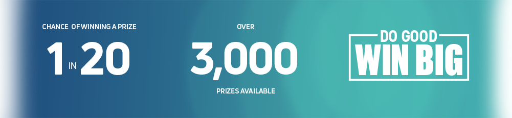 1 in 20 chance of winning a prize. Over 3,000 prizes available. Athletes win, you win.